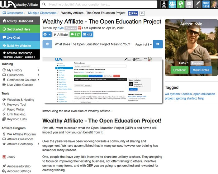 Wealthy Affiliate Open Education Project Learn Affiliate Marketing