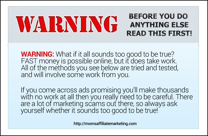 Real ways to make money online warning