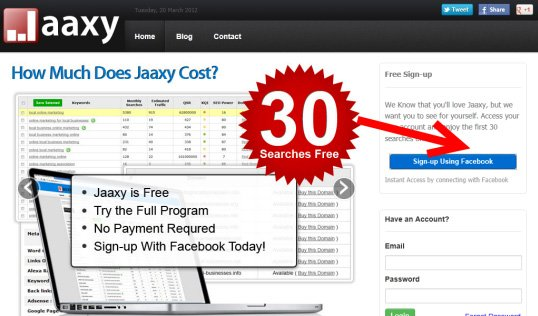 Jaaxy keyword tool free 30 search trial